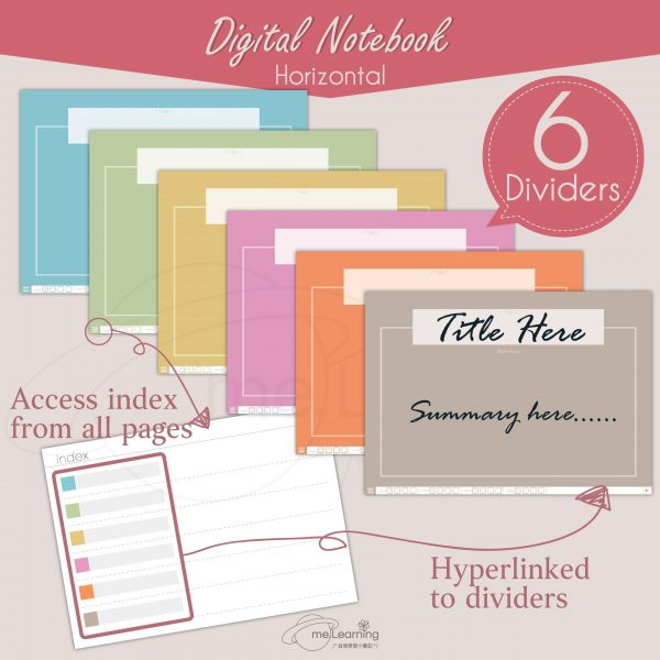 notebook 6tabs solid color horizontal banner1 en scaled   Digital Notebook, 6 tabs, 10 solid color covers, horizontal, English Version, Simple Classic Style-0002   me.Learning  