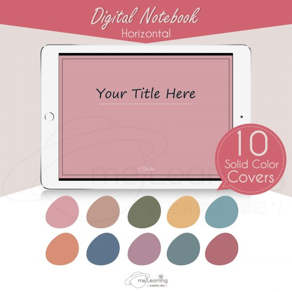 notebook 6tabs solid color horizontal banner2 en scaled   Digital Notebook, 6 tabs, 10 solid color covers, horizontal, English Version, Simple Classic Style-0002   me.Learning  