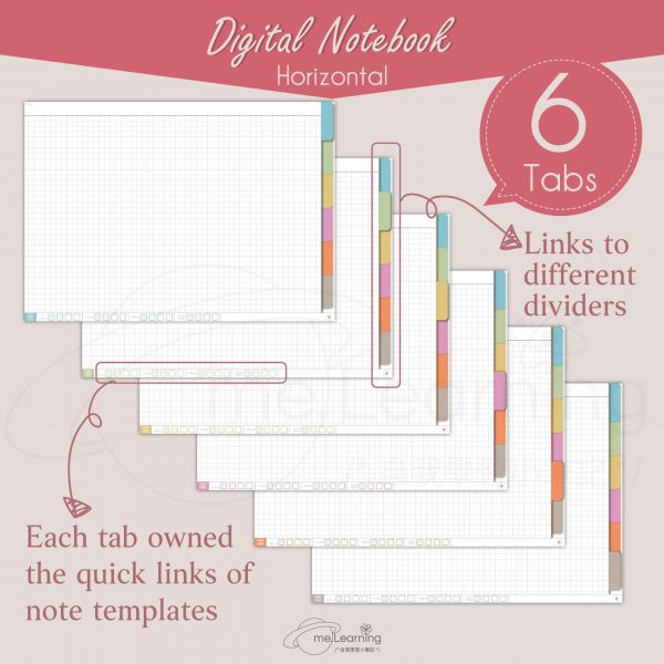 notebook 6tabs solid color horizontal banner7 en scaled   Digital Notebook, 6 tabs, 10 solid color covers, horizontal, English Version, Simple Classic Style-0002   me.Learning  