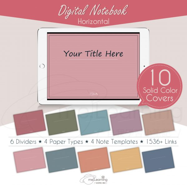 notebook 6tabs solid color horizontal banner8 en scaled   Digital Notebook, 6 tabs, 10 solid color covers, horizontal, English Version, Simple Classic Style-0002   me.Learning  